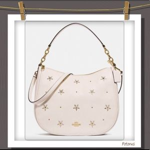 Coach Elle Hobo With Allover Studs in Chalk